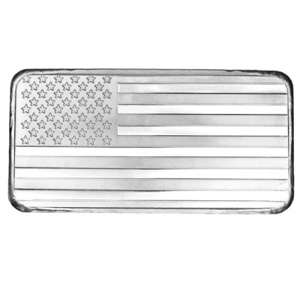 10 Oz American Flag Silver Bar