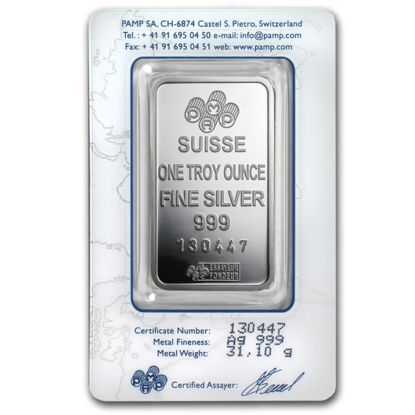1 Oz Pamp Suisse Silver Bar