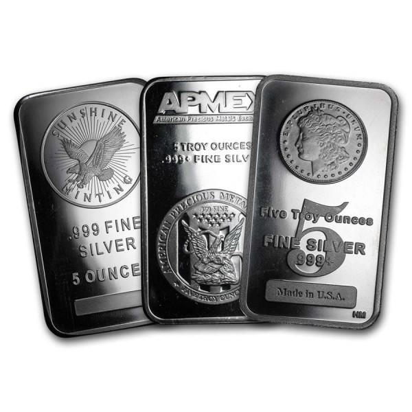 5 Oz Assorted .999 Fine Silver Bar