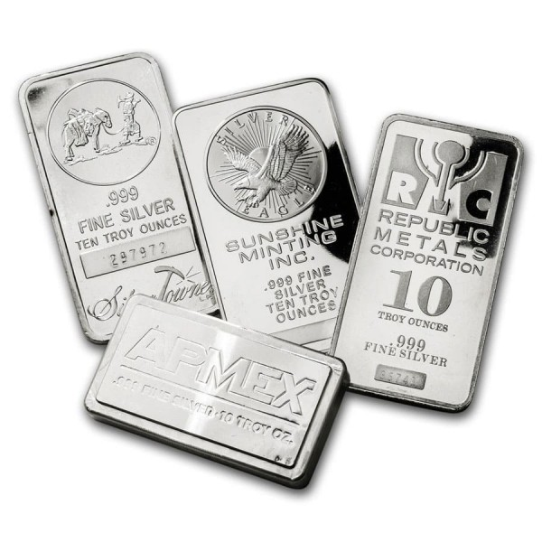 10 Oz Assorted .999 Fine Silver Bar