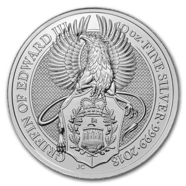 2018 10 Oz UK Silver Queen's Beasts (The Griffin)