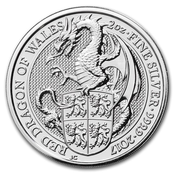 2017 2 Oz UK Queen's Beasts (The Dragon)