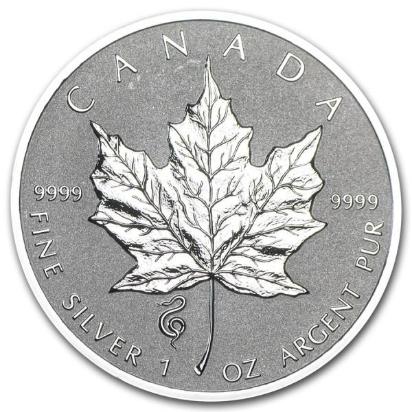 2013 1 Oz Canadian Maple Leaf Lunar Snake Privy
