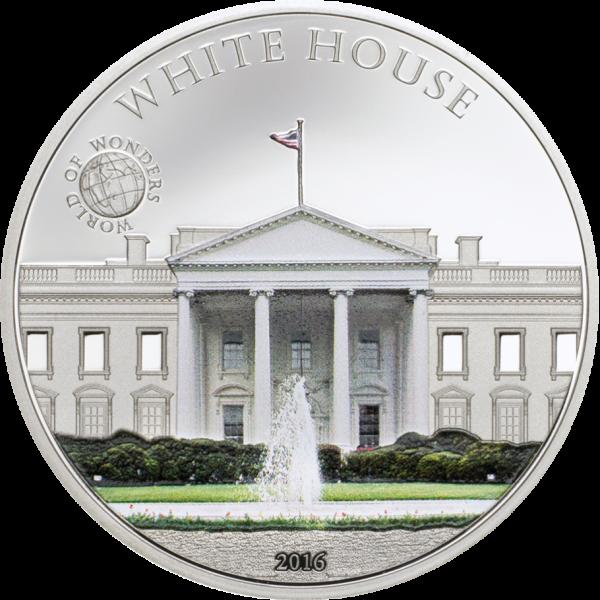 2016 Palau Proof Silver World of Wonders (White House)