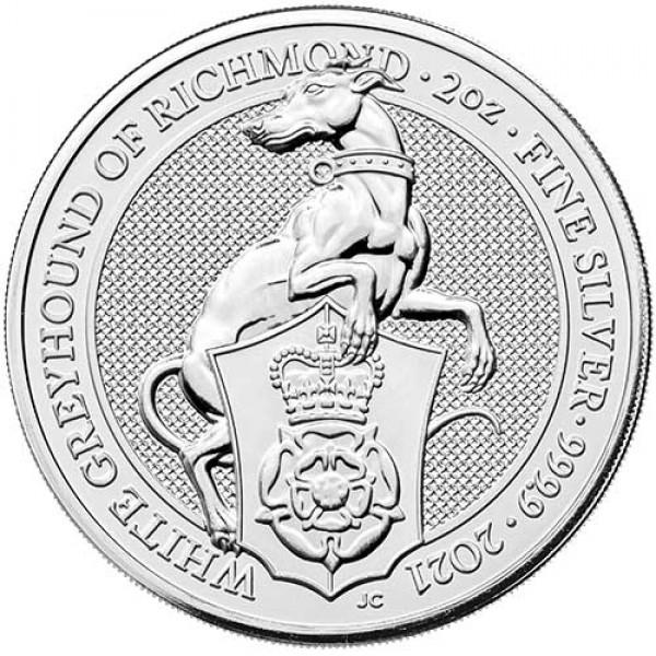 2021 2 Oz UK Queen's Beasts (White Greyhound)
