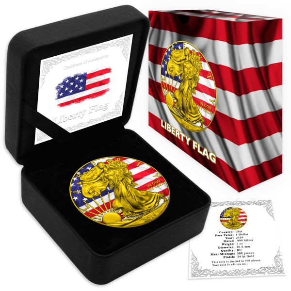 2016 1 Oz US Flag American Eagle Gilded