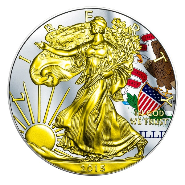 2015 1 Oz Illinois Flag American Eagle Gilded