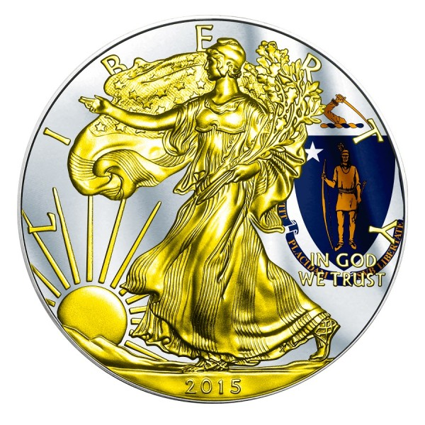 2015 1 Oz Massachusetts Flag American Eagle Gilded