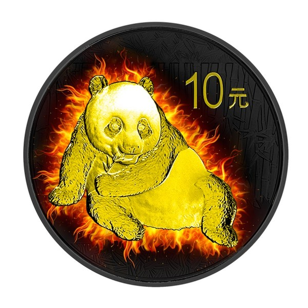 2015 1 Oz Burning Ruthenium Gilded Panda