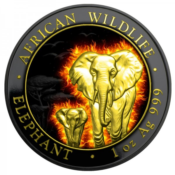 2015 1 Oz Burning Ruthenium Gilded African Elephant