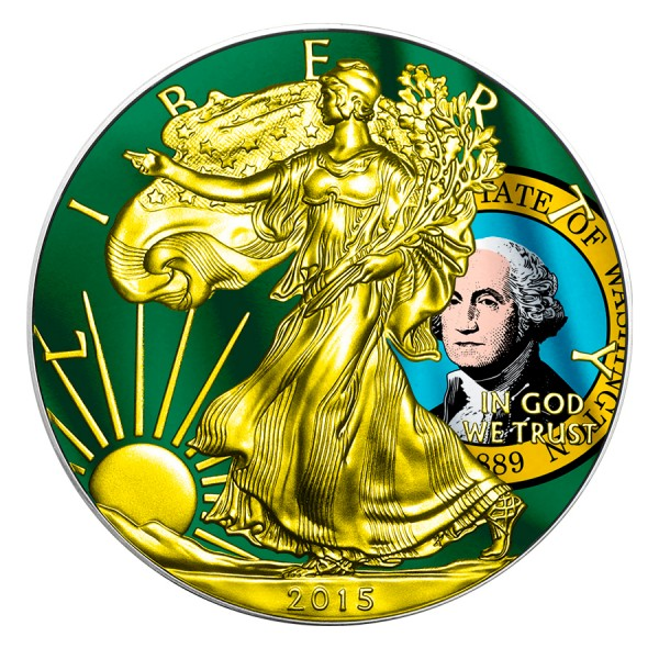 2015 1 Oz Washington Flag American Eagle Gilded