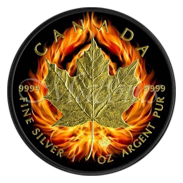 2015 1 Oz Burning Ruthenium Gilded Maple Leaf