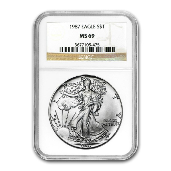 1987 1 Oz NGC MS69 American Silver Eagle