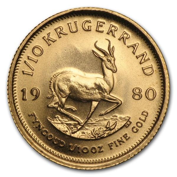 1980 1/10 Oz South Africa Gold Krugerrand
