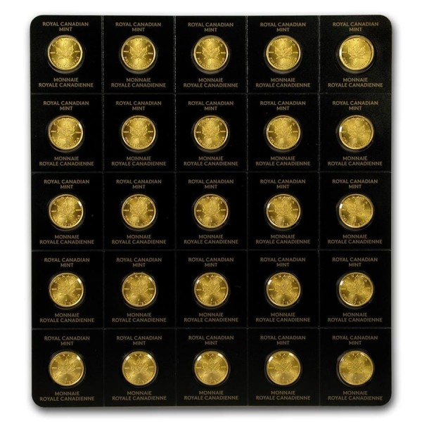 2019 25 x 1g Gold Maple Leaf (in Assay)