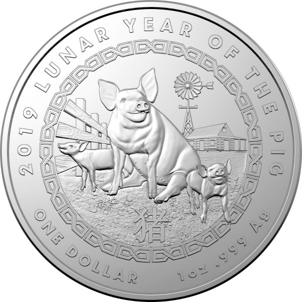 2019 1 Oz Royal Australian Mint Lunar Year Pig