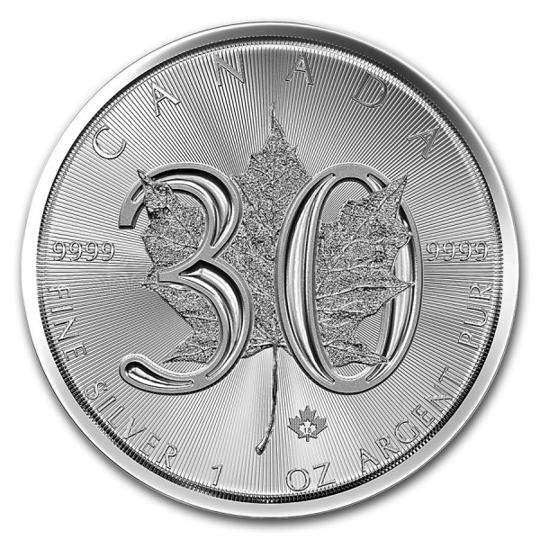 2018 1 Oz 30th Anniversary Maple Leaf