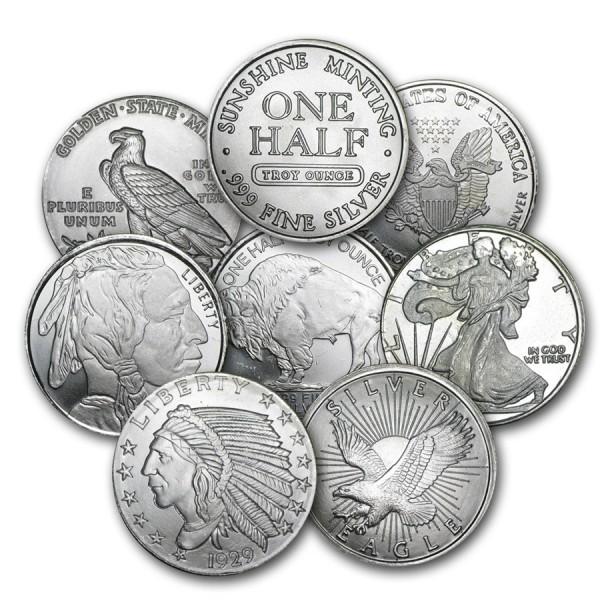 1/2 Oz Assorted .999 Fine Silver Round