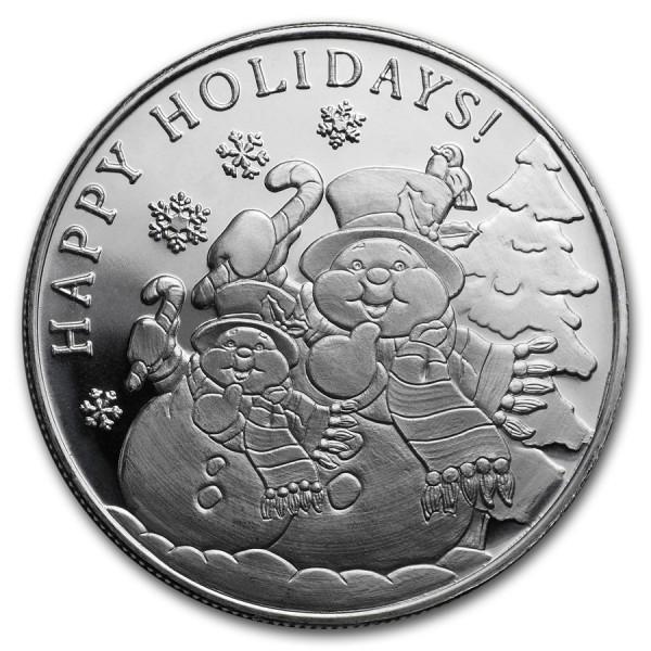 1 Oz Snowman Silver Round